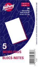 Hilroy Plain Memo Pads  - 5 Pack