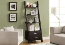Ladder-Bookcase--2-Drawers--Cappuccino-1