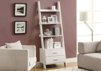 Ladder-Bookcase--2-Drawers--White-1