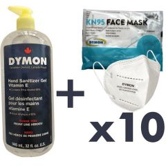 Personal Protection Kit - 10 Masks and Large Sanitizer