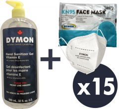Family Protection Kit - 15 Masks and Large Sanitizer
