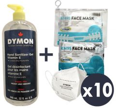One month kit - 10 masks, pouch, strap, large hand sanitizer