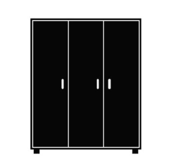 Line illustration of a 3 panel closet.